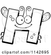 Cartoon Clipart Of A Black And White Letter H Bug Vector Outlined Coloring Page