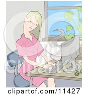 Young Blond Woman Working On A Computer At A Desk In An Office Clipart Illustration by AtStockIllustration