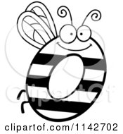 Cartoon Clipart Of A Black And White Letter O Bug Vector Outlined Coloring Page