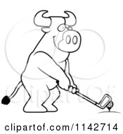 Cartoon Clipart Of A Black And White Golfing Bull Holding The Club Against The Ball On The Tee Vector Outlined Coloring Page by Cory Thoman