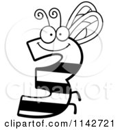 Cartoon Clipart Of A Black And White Bug Number 3 Vector Outlined Coloring Page