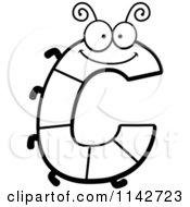 Cartoon Clipart Of A Black And White Letter C Bug Vector Outlined Coloring Page