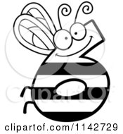 Cartoon Clipart Of A Black And White Bug Number 6 Vector Outlined Coloring Page