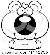 Cartoon Clipart Of A Black And White Happy Bear Cub Vector Outlined Coloring Page