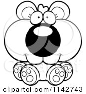 Cartoon Clipart Of A Black And White Cute Sitting Bear Cub Vector Outlined Coloring Page