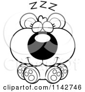 Cartoon Clipart Of A Black And White Cute Bear Cub Sleeping Vector Outlined Coloring Page