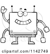 Cartoon Clipart Of A Black And White Waving Box Robot Vector Outlined Coloring Page by Cory Thoman
