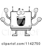 Cartoon Clipart Of A Black And White Cheering Box Robot Vector Outlined Coloring Page by Cory Thoman