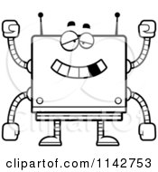 Cartoon Clipart Of A Black And White Dumb Box Robot Vector Outlined Coloring Page by Cory Thoman