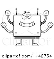Cartoon Clipart Of A Black And White Bully Box Robot Vector Outlined Coloring Page