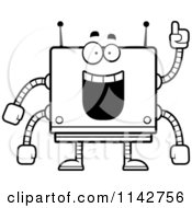 Cartoon Clipart Of A Black And White Smart Box Robot Vector Outlined Coloring Page by Cory Thoman