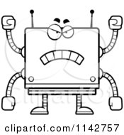 Cartoon Clipart Of A Black And White Mad Box Robot Vector Outlined Coloring Page