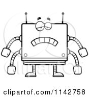 Cartoon Clipart Of A Black And White Sad Box Robot Vector Outlined Coloring Page by Cory Thoman