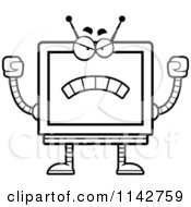 Cartoon Clipart Of A Black And White Mad Screen Robot Vector Outlined Coloring Page