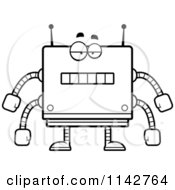 Cartoon Clipart Of A Black And White Bored Box Robot Vector Outlined Coloring Page by Cory Thoman