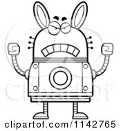 Cartoon Clipart Of A Black And White Mad Robot Rabbit Vector Outlined Coloring Page by Cory Thoman