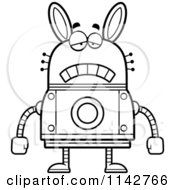 Cartoon Clipart Of A Black And White Sad Robot Rabbit Vector Outlined Coloring Page by Cory Thoman