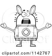 Cartoon Clipart Of A Black And White Scared Robot Rabbit Vector Outlined Coloring Page by Cory Thoman