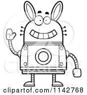 Cartoon Clipart Of A Black And White Waving Robot Rabbit Vector Outlined Coloring Page by Cory Thoman