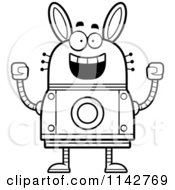 Cartoon Clipart Of A Black And White Cheering Robot Rabbit Vector Outlined Coloring Page by Cory Thoman