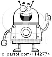 Cartoon Clipart Of A Black And White Smart Robot Vector Outlined Coloring Page