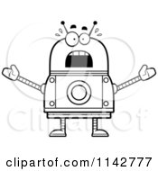 Cartoon Clipart Of A Black And White Scared Robot Vector Outlined Coloring Page