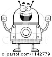 Cartoon Clipart Of A Black And White Cheering Robot Vector Outlined Coloring Page
