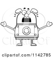 Cartoon Clipart Of A Black And White Scared Dog Robot Vector Outlined Coloring Page