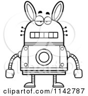 Cartoon Clipart Of A Black And White Bored Robot Rabbit Vector Outlined Coloring Page by Cory Thoman
