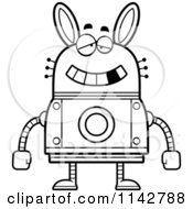 Cartoon Clipart Of A Black And White Dumb Robot Rabbit Vector Outlined Coloring Page by Cory Thoman