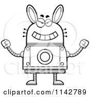 Cartoon Clipart Of A Black And White Evil Robot Rabbit Vector Outlined Coloring Page by Cory Thoman