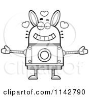 Cartoon Clipart Of A Black And White Loving Robot Rabbit Vector Outlined Coloring Page by Cory Thoman