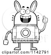 Cartoon Clipart Of A Black And White Smart Robot Rabbit Vector Outlined Coloring Page by Cory Thoman