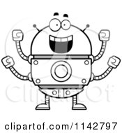 Cartoon Clipart Of A Black And White Excited Robot Vector Outlined Coloring Page