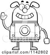 Cartoon Clipart Of A Black And White Waving Dog Robot Vector Outlined Coloring Page by Cory Thoman