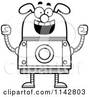 Cartoon Clipart Of A Black And White Excited Dog Robot Vector Outlined Coloring Page