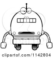 Cartoon Clipart Of A Black And White Bored Robot Girl Vector Outlined Coloring Page