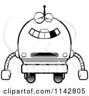 Cartoon Clipart Of A Black And White Dumb Robot Girl Vector Outlined Coloring Page
