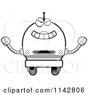 Cartoon Clipart Of A Black And White Evil Robot Girl Vector Outlined Coloring Page