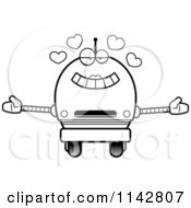 Cartoon Clipart Of A Black And White Loving Robot Girl Vector Outlined Coloring Page
