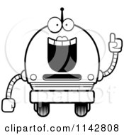 Cartoon Clipart Of A Black And White Smart Robot Girl Vector Outlined Coloring Page