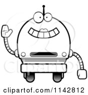 Cartoon Clipart Of A Black And White Waving Robot Girl Vector Outlined Coloring Page