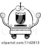Cartoon Clipart Of A Black And White Cheering Robot Girl Vector Outlined Coloring Page