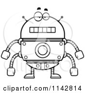 Cartoon Clipart Of A Black And White Bored Robot Vector Outlined Coloring Page