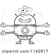 Cartoon Clipart Of A Black And White Loving Robot Vector Outlined Coloring Page