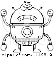 Cartoon Clipart Of A Black And White Mad Robot Vector Outlined Coloring Page