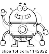 Cartoon Clipart Of A Black And White Waving Robot Vector Outlined Coloring Page