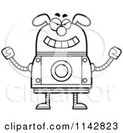 Cartoon Clipart Of A Black And White Evil Dog Robot Vector Outlined Coloring Page by Cory Thoman