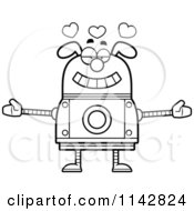 Cartoon Clipart Of A Black And White Loving Dog Robot Vector Outlined Coloring Page