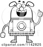 Cartoon Clipart Of A Black And White Smart Dog Robot Vector Outlined Coloring Page